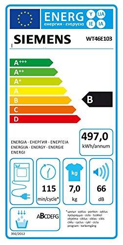 siemens iq300 wt46e103 isensoric s che linge condensateur b 7 kg blanc syst me de tambour. Black Bedroom Furniture Sets. Home Design Ideas
