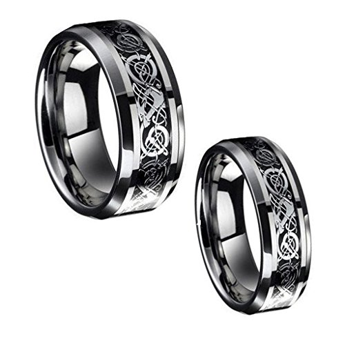 Wedding Band Ring Set For Him & Her - 8MM/6MM Tungsten Carbide Celtic Knot Dragon Design Carbon Fiber Inlay