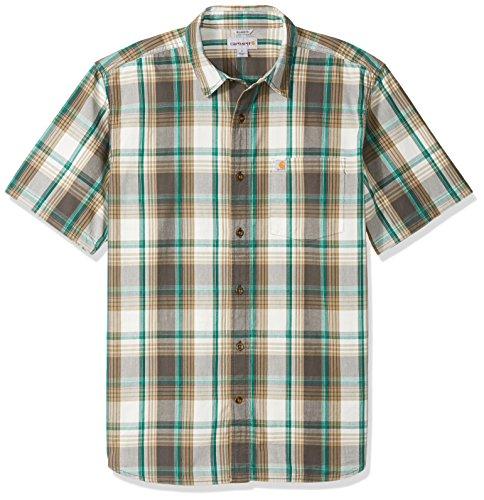 Carhartt Men's Essential Plaid Open Collar Short Sleeve Shirt, Shadow, Large - Shadow Shirt Plaid