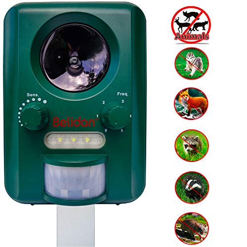 Belidan Animal Repellent Ultrasonic Outdoor - Advanced Animal Repeller - Deer Cat Dog Skunk Rats Raccoon Repellent - Animal Deterrent Device Solar Powered - Motion Sensor LED Lights USB Charger