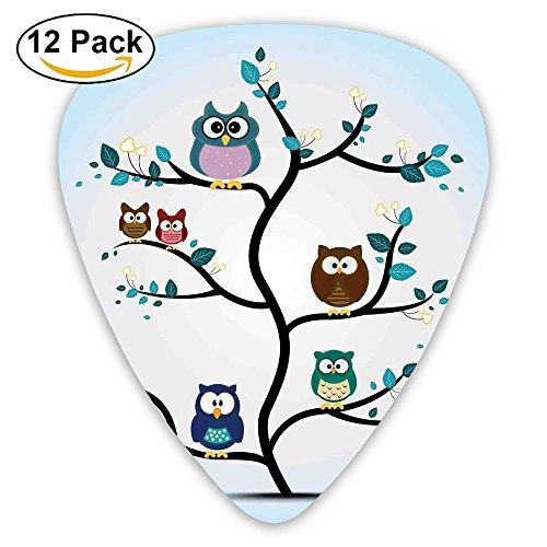 Newfood Ss Owl Family Perched On A Tree Love Grace Nocturnal Eyed Night Animals In The Nature Print Guitar Picks 12/Pack Set