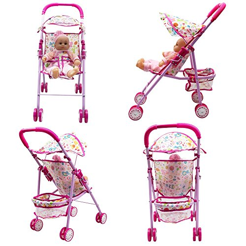Annie's Collection Baby Doll Stroller with Doll, Foldable with Basket and Adjustable Hood for Girls Aged 1-2 Years Old by Annie's Collection (Image #1)