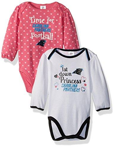 NFL Carolina Children Girls 2 Pack Long sleeve Bodysuit, 6-12 Months, Panthers (Girls Panther)