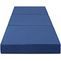 Olee Sleep Tri-Folding Memory Foam Mattress, Blue, 4 H