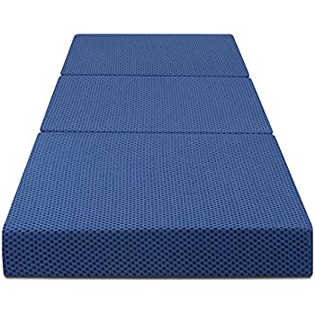 Olee Sleep Tri-Folding Memory Foam Mattress, Blue, 4'' H