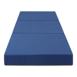 "Olee Sleep Tri-Folding Memory Foam Topper, 4"" H, Blue"