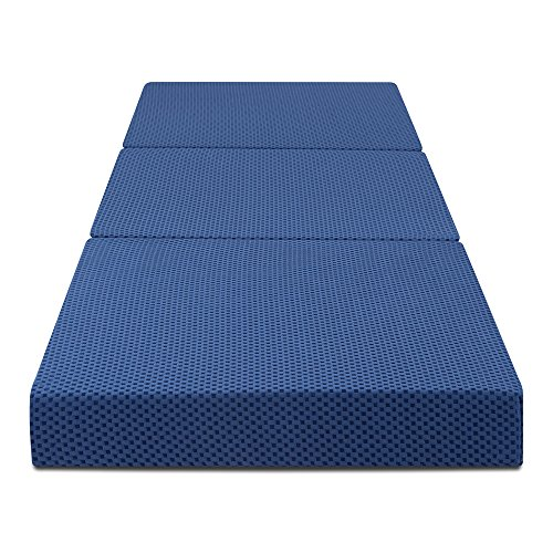 Olee Sleep Tri-Folding Memory Foam Mattress, Blue, 4'' (Folding Pad)