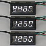 DROK 100136 12 Volt DC Car Digital Electric Clock Fahrenheit °F Temperature Voltage Measurement White LED Gauge Panel Meter 18B20 Sensor Probe