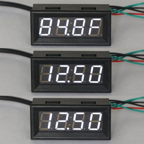 DROK 100136 12 Volt DC Car Digital Electric Clock Fahrenheit F Temperature Voltage Measurement White LED Gauge Panel Meter 18B20 Sensor Probe