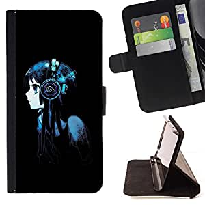 DEVIL CASE - FOR HTC One M8 - Beautiful Anime Headphones Girl - Style PU Leather Case Wallet Flip Stand Flap Closure Cover