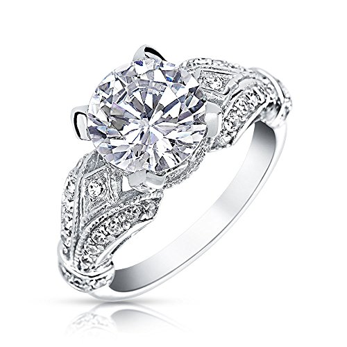 .925 Silver Victorian Style 3ct Solitaire CZ Engagement (New 3 Carat Solitaire)
