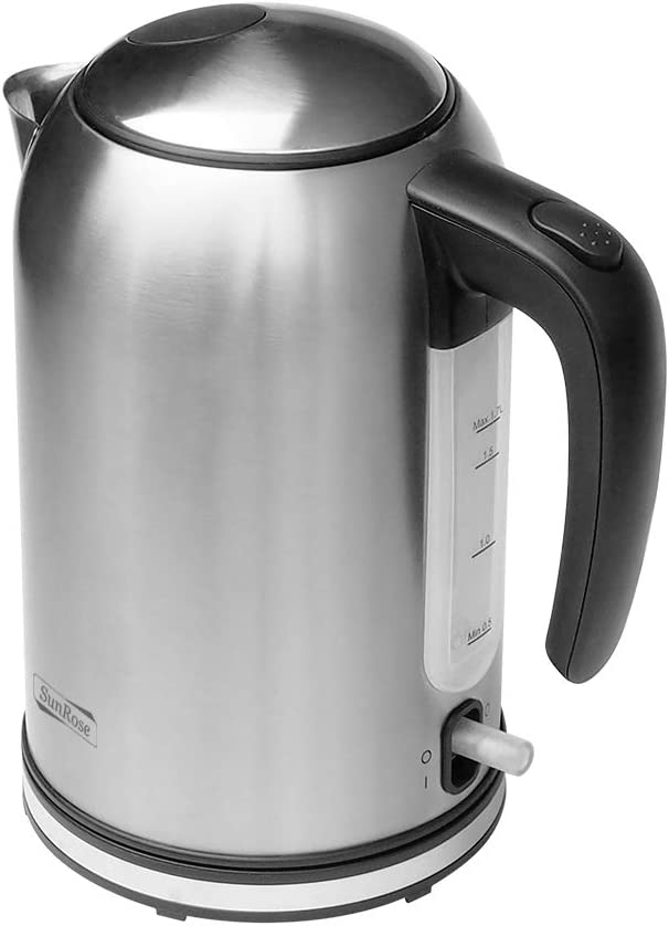 SunRose Cordless Electric Kettle SR919R Stainless Steel 1.7L Tea Kettle, BPA Free Hot Water Kettle with 1500W Fast heating Tea Pot and Coffee Tea Kettle, Auto Shut Off Boil Dry Protection, Brushed Stainless Steel