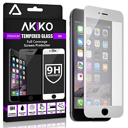 Akiko iPhone 6 6s White Screen Protector, Akiko New 2.5D Full Screen Tempered Glass Protector [Full Protection Cover w/ Curved Edge] - Retail Packaging