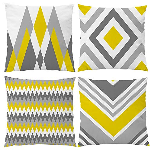 Modern Simple Yellow Gray Geometric Style Cotton Linen Burlap Square Decorative Throw Pillow Covers, 18 x 18 Inches, Set of 4 (Yellow-Gray) (And Pillows Yellow Gray)