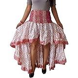 Womens Silk Sari Skirt White Upecycled Cherished Flare Ruffle Skirts S/M