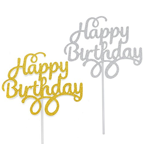 Buorsa 12 Pack Gold and Silver Happy Birthday Cake Topper Birthday Party Decorations