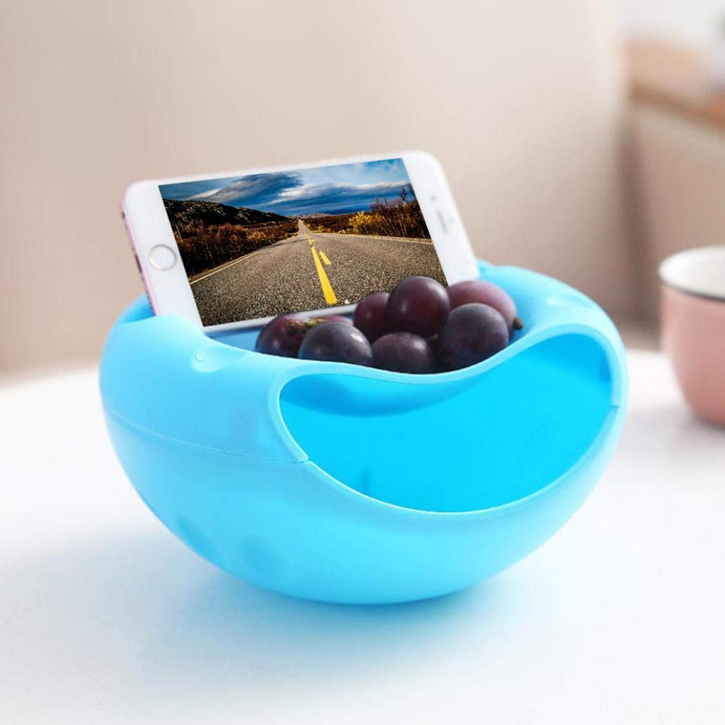 Transer- Creative Shape Bowl Phone Holder Shell Storage Rack Shelf, Perfect Seeds Nuts Dry Fruits Storage Box (Blue)