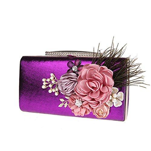 De Mujer Carteras Bolso de Pequeños Bolsos Morado KAXIDY Fiesta Mano Mano Fiesta Bolsos Floral UzSaw