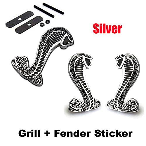 (2pcs Sets AM102 Cobra Front Grille Silver + Back Sticker Car Emblem Badge For Ford Mustang Shelby Cobra)