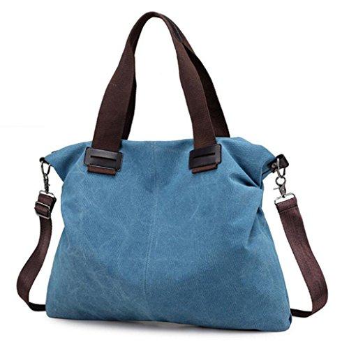 Mujeres Bolso de viaje ocasional de la bolsa de mensajero del hombro de las mujeres de la moda de la lona Azul