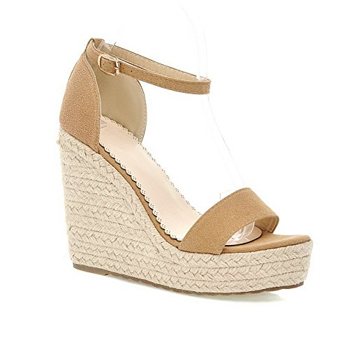 VogueZone009 Women's Buckle Open Toe High Heels Imitated Suede Solid Sandals Apricot eAYEuI