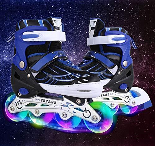 Flyerstoy Adjustable Inline Skates for Girls | Beginner Kids Rollerblades (Blue, US-L-5-8)