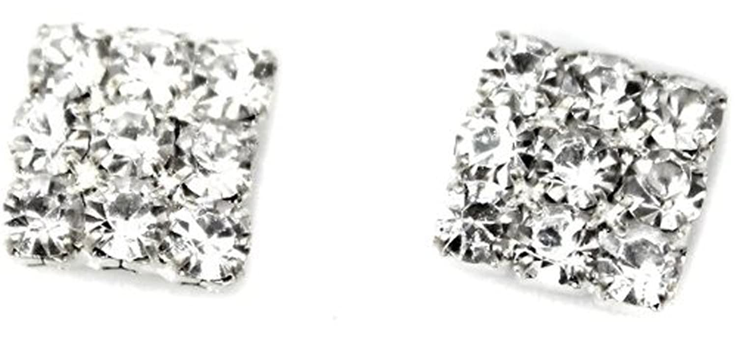 Crystal Rhinestone Diamante Square Magnetic Clip On Earrings Stud Mens  Women Unisex Childrens