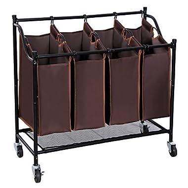 SONGMICS 4-Bag Rolling Laundry Sorter Cart Heavy-duty w' 4 Casters Brown URLS95Z
