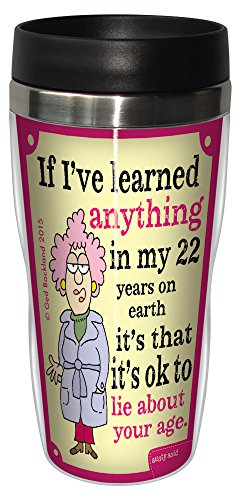 Tree-Free Greetings 16-Ounce Sip 'N Go Stainless Lined Travel Mug, Aunty Acid Lie About Your Age (SG78449)