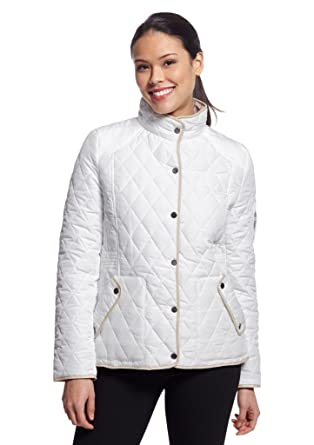 Weatherproof Quilted Barn Jacket L Ivory At Amazon Womens Coats Shop