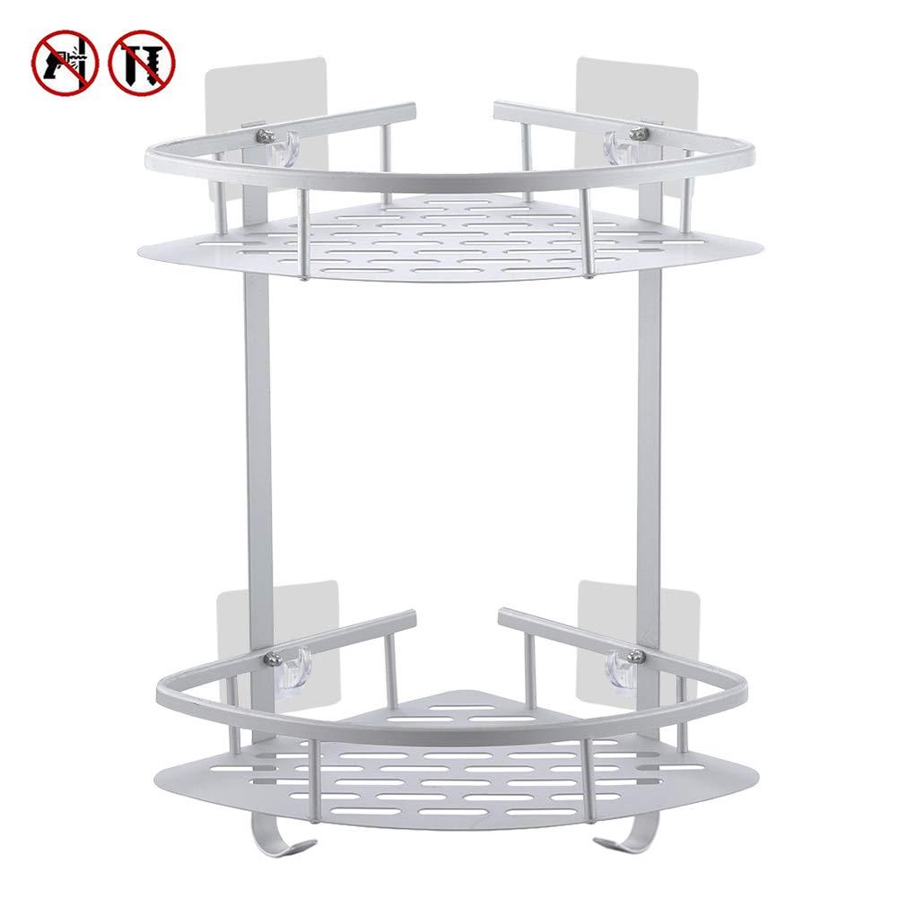 Estantes para esquinas de baño No Drill, Laimew estante de ducha de aluminio adhesivo anticorrosivo con ganchos para colgar (2 gradas)