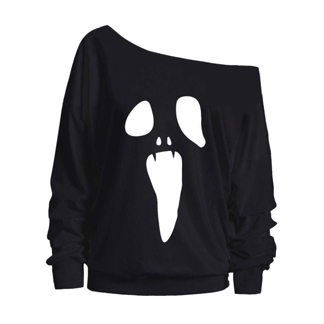 Women Halloween Costume Ghost Pumpkin Sweatshirt Long Sleeve Off Shoulder Top iQKA-1754