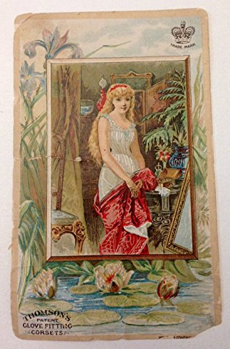 Original Vintage Antique Victorian Trade Card Thomson's Patent Glove Fitting Corsets Lingerie Girl