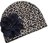 Funny Girl Designs Leopard Print Silk Flower Baby Hat (Newborn to 6/9 Months)