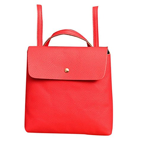School Backpack Inkach Womens Satchel Fashion Leather Bag Travel Red Purse Bags Rucksack wZaHOZq