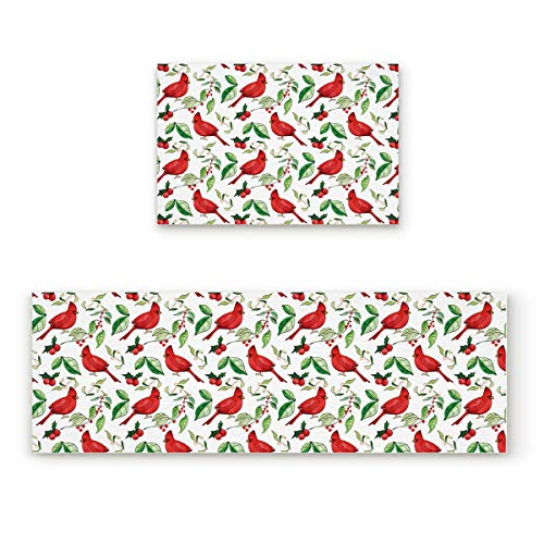 - Greday Kitchen Bath Rug Runner Set 2 Piece Water Absorbent Non Slip Bath Mats Runner for Floors Machine Washable Cardinal and Branch 19.7