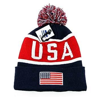 USA Beanie POM POM Winter Knit Hat Cap American Flag (Navy