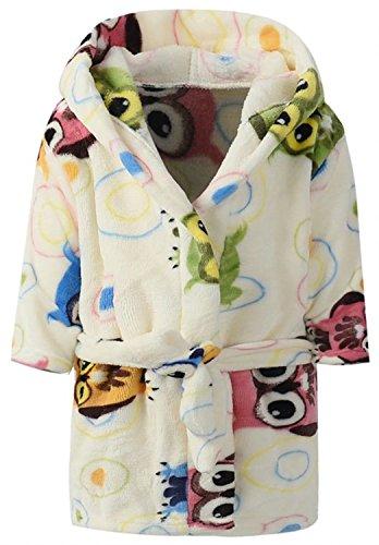Ameyda Animal Owl Printed Hooded Bathrobe for Kids Boys and Girls Color,90 -