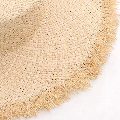 a33d6b23 Amazon.com : ALWLj Hats with Ribbon Tie Raffia Straw Summer Sun Hat for  Women Vintage Hats with Flat Brim and Fray Edge : Sports & Outdoors