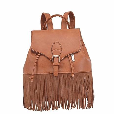 Nueva tendencia flecos personalizada mochila, mochila escolar, viento cuerda Lady,Brown: Amazon.es: Oficina y papelería