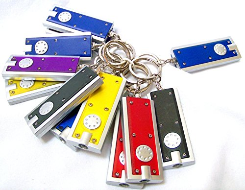 Joinwin Mini LED Flashlight Key Chain Thin LED Flashlight on Keychain- Dozen(Colors May Vary)
