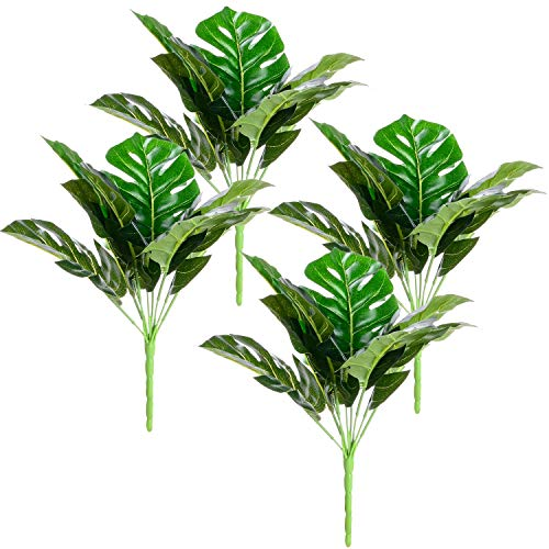 Leafdio Artificial Jungle Theme Palm Tree Leaves Decoration with Stem, 4 Pack Large 36 Leafs Decor, Tropical Monstera for Home Decorations Hawaiian Party, Greenery Bouquet (36Branch) -