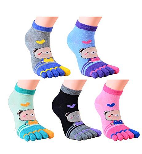 Toe Christmas Stocking (Zmart Women's Fun Colorful Striped Cats Cotton Christmas Toe Socks (5 Pack-Bear))