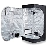 TopoLite Full Range Multiple Sized 24''x24''x48'' Indoor Grow Tent Room 600D Mylar Hydroponic Growing Plant w/ Plastic Corner (24''X24''x48'')