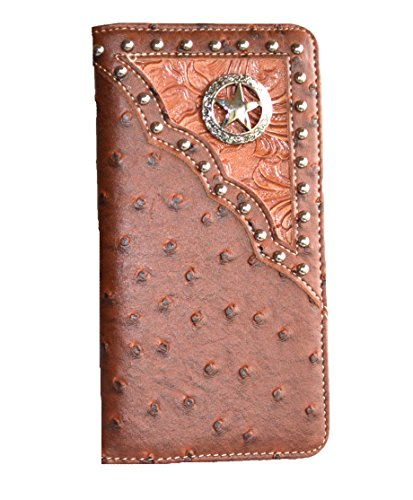western ostrich leather concho wallet