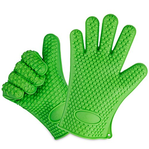 Cheapest Prices! OXA Silicone Heat Resistant BBQ Grill Oven Gloves for Cooking, Baking, Smoking & Po...