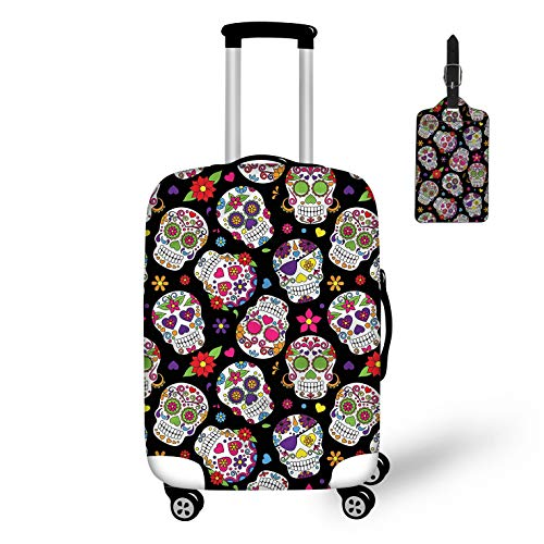 FOR U DESIGNS Waterproof Luggage Protector Wheels Trolley Suitcase Cover with Suger Skull,Luggage Tags 2 Piece Set -