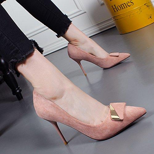 Jefe otoño Nuevo Hebilla Pink Maquina Gamuza Sola Con Zapatos Profesional Alto Metal Khskx De Mujer Tacon AqgBEA
