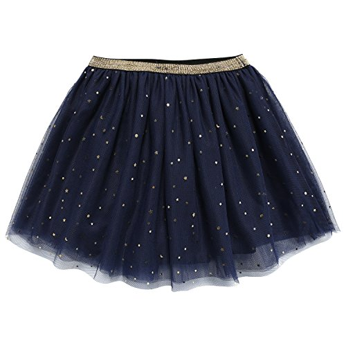 bbhoney Little Girls layered Tutu Skirt Dance Birthday Ballet Tulle Dress up (2T/3T, Star Blue)