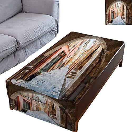 DESPKON-HOME Coffee Table Tablecloth Simple Modern Style Este Arch Medieval Heritage Cote Dazur South France Cityscape 27.5X70.8